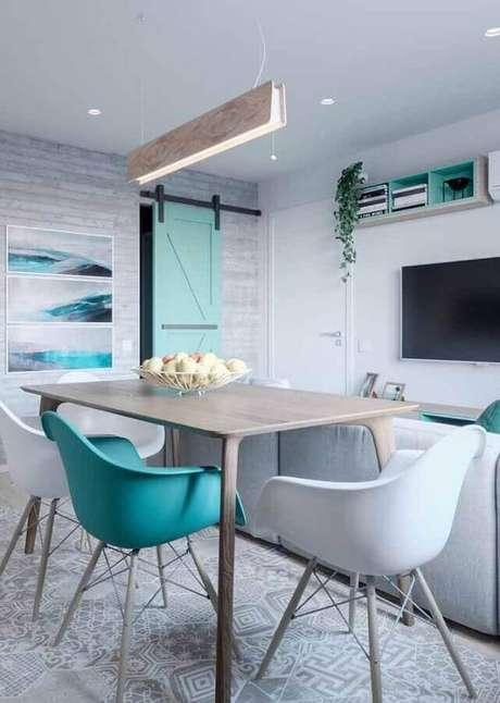 47.. Decoração verde água para sala de estar e jantar integradas – Foto: Design Ideas