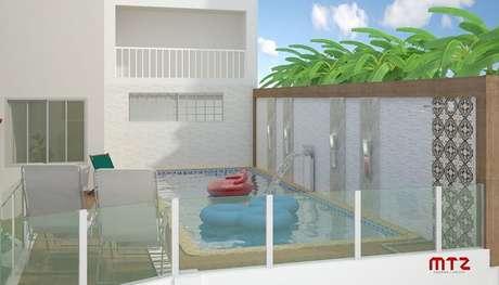 43 – Modelo de piscina suspensa para área de lazer pequena. Projeto de Maria Tereza Zucoloto