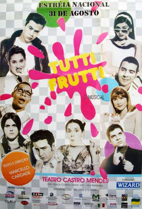 Pôster de 'Tutti Frutti - O Musical', peça com o elenco do seriado 'Sandy e Junior'.