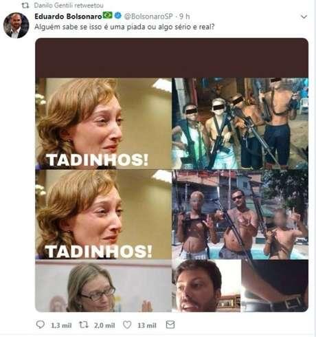Tweet do deputado federal Eduardo Bolsonaro sobre a decisão da Justiça que penalizou o humorista Danilo Gentili.
