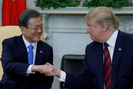 Presidente dos EUA, Donald Trump, recebe presidente da Coreia do Sul, Moo Jae-in, na Casa Branca 11/04/2019 REUTERS/Carlos Barria