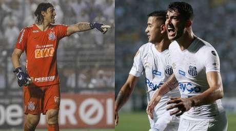 Cássio, goleiro do Corinthians; e Gustavo Henrique, zagueiro do Santos