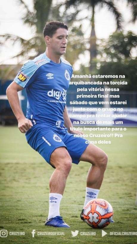 Thiago Neves usa das redes sociais para confirmar ausência na final do Mineiro.