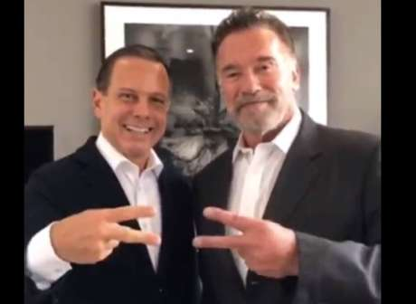 O governador João Doria e o ator Arnold Schwarzenegger