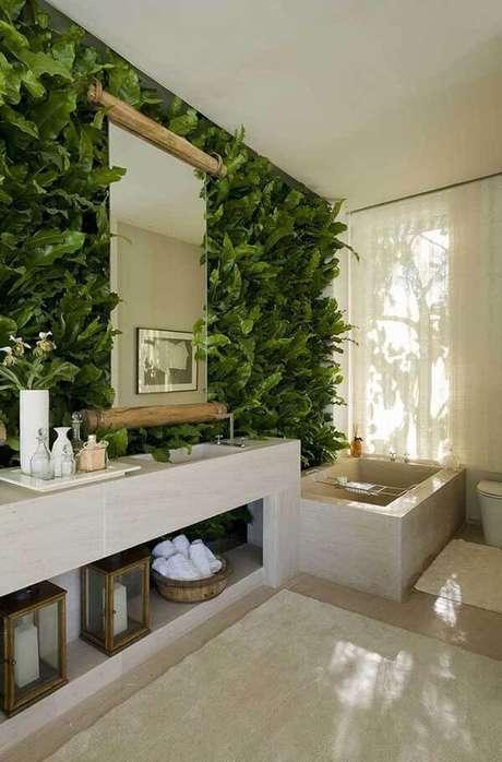 54- Os modelos de cortinas para banheiros modernos são de tecidos leves. Fonte: Pinterest