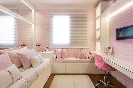 62- Os modelos de cortinas para quartos femininos podem ser brancos ou de cores neutras. Fonte: Monise Rosa Arquitetura