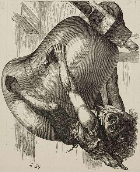 Quasimodo também foi retratado muitas vezes. Nesta imagem ele aparece em um desenho de 1877
