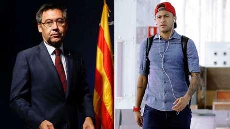 O presidente do Barcelona Josep Maria Bartomeu disse que Dembelé é melhor que Neymar (Foto: Arte/Lance!)