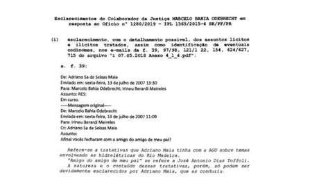 Documento em que Marcelo Odebrecht cita Dias Toffoli foi retirado dos autos da Lava Jato apó publicação de reportagem