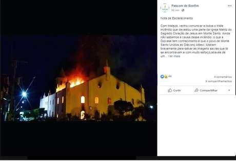 Incêndio atingiu igreja centenária em Monte Santo, na Bahia