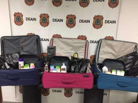 Malas do casal preso com 20kg de cocaína no aeroporto
