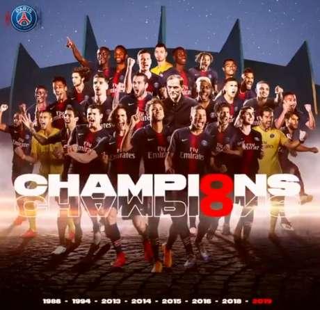 Mesmo sem entrar em campo, PSG conquista o Campeonato Francês (Foto: Reprodução / Twitter)