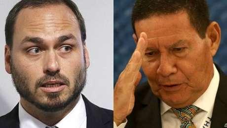 O vereador carioca Carlos Bolsonaro e o vice-presidente Hamilton Mourão