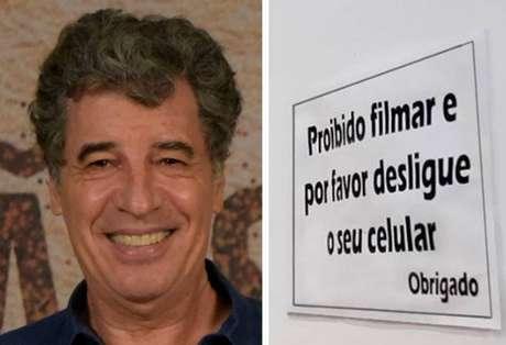Paulo Betti e placa publicada no Facebook da Igreja Universal.