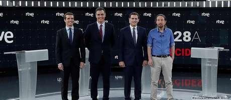Candidatos da esq. à dir.: Pablo Casado (PP), Pedro Sánchez (PSOE), Albert Rivera (Cidadãos) e Pablo Iglesias (Podemos)