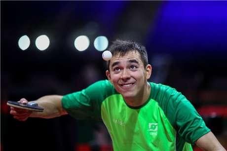 Hugo Calderano está entre os 32 melhores do Mundial (Foto: Abelardo Mendes Júnior/Rede do Esporte.)