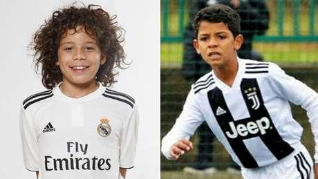 Enzo Vieira, filho de Marcelo; e Cristiano Junior, filho de CR7, têm se destacado na Europa (Foto: Reprodução)