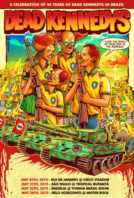 Cartaz da turnê do Dead Kennedys no Brasil.