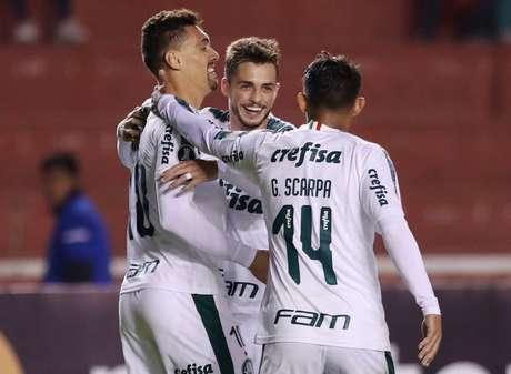 Jogadores do Palmeiras comemoram durante goleada sobre o Melgar na Libertadores
