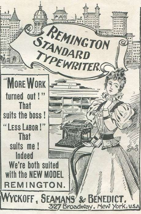 Anúncio da máquina de escrever Remington Standard