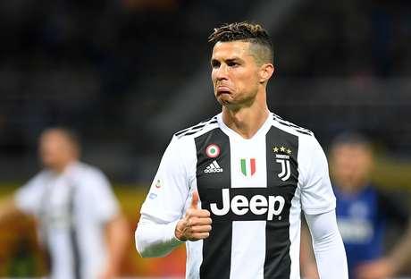Cristiano Ronaldo durante o duelo da Juventus contra a Inter de Milão