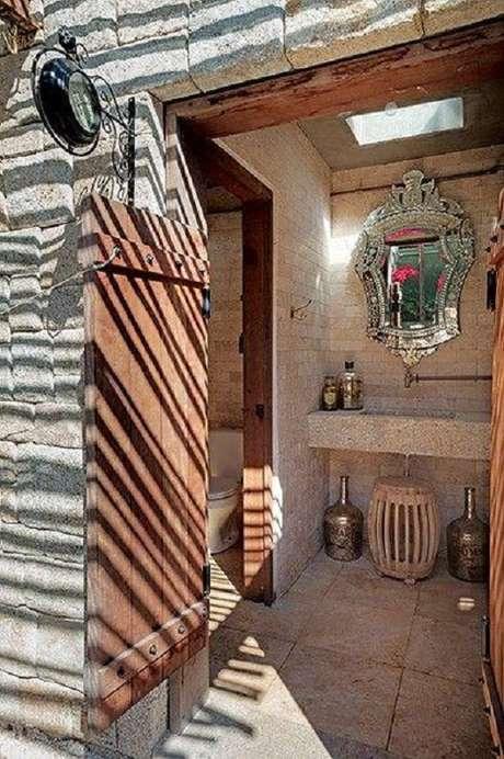 42. O espelho provençal também combina com a decoração de ambientes rústicos – Foto: Casinha Colorida