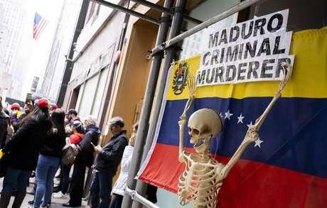 Protesto contra Nicolás Maduro em Nova York, nos EUA