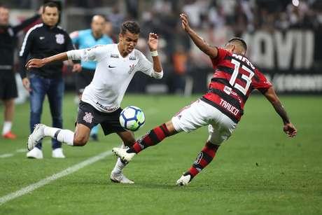 Lance durante a partida entre Corinthians e Flamengo, válida pela Semifinal da Copa do Brasil 2018, na Arena Corinthians, em São Paulo