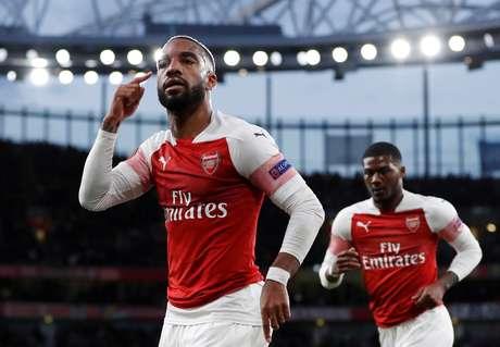 Alexandre Lacazette, do Arsenal, comemora gol marcado contra o Valencia pela Liga Europa 02/05/2019 Action Images via Reuters/Paul Childs