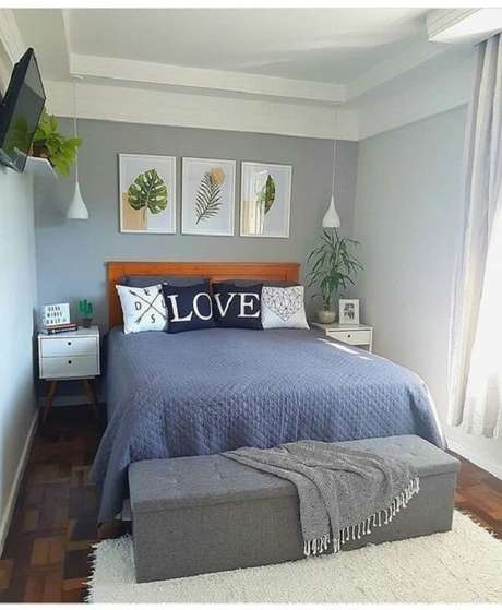 16 – Decoração de quarto de casal com quadros de folhas. Fonte: Decoração 24