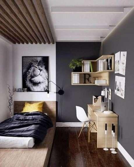 68 – Decoração de quarto simples masculino em tons de cinza. Fonte Revista Viva Decora