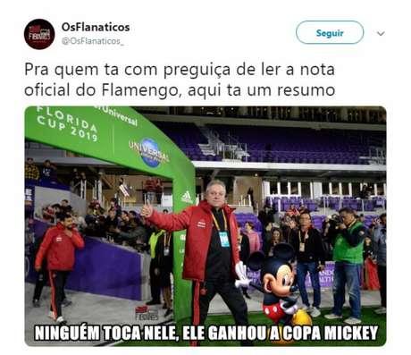 'Copa Mickey': Usuários do Twitter debocham de nota do Flamengo (Foto: Reprodução)