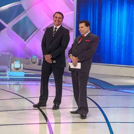 Bolsonaro durante entrevista ao apresentador Silvio Santos, no SBT