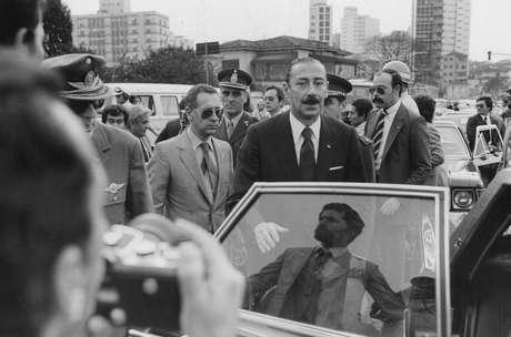 O ditador argentino Jorge Rafael Videla, em visita a Brasília em 1980