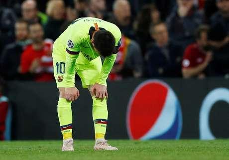 Lionel Messi durante derrota do Barcelona para o Liverpool na Liga dos Campeões 07/05/2019 REUTERS/Phil Noble