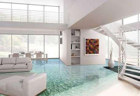 8 – A decoração da sala de estar encanta e transborda o estilo praiano com esse piso 3D. Fonte: Habitissimo