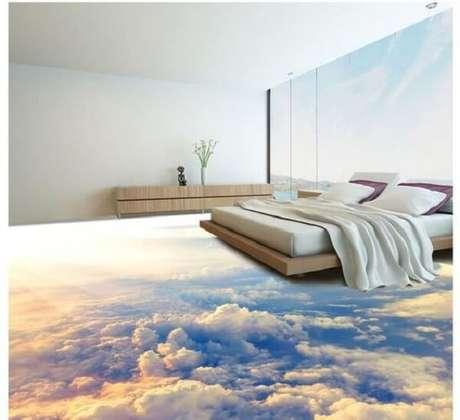 9 – Adesivo 3D para piso com temática de céu para quarto de casal. Fonte: Pinterest