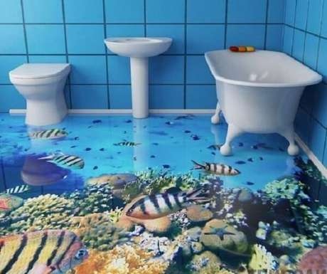 12 – Adesivo 3D para piso com temática de oceano para banheiro. Fonte: Casa e Construção