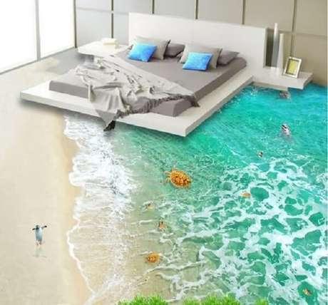13 – Adesivo 3D para piso com temática de praia. Fonte: Pinterest