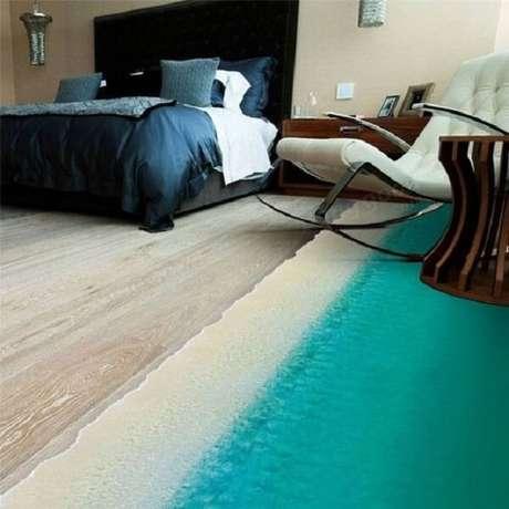 14 – O piso 3D imprimi estilo praiano na decoração de quarto de casal. Fonte: Casa e Construção
