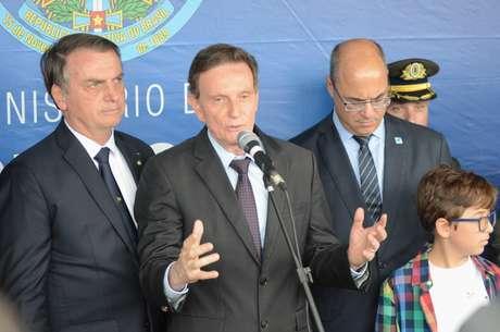 Presidente Jair Bolsonaro, o Prefeito Marcelo Crivella e o Governador Wilson Witzel