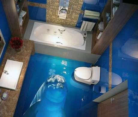 15 – Complemente a decoração do banheiro utilizando um piso 3D. Fonte: Pinterest