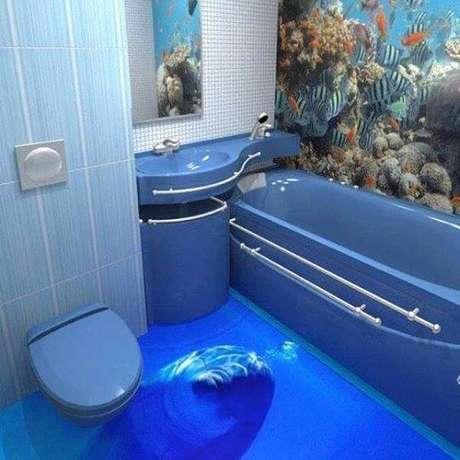 49 – Decoração de banheiro com piso 3D. Fonte: Decorando Casas