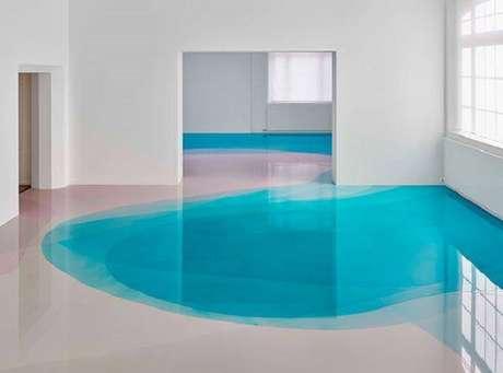 17 – Leveza e tranquilidade transbordam nesse ambiente com piso 3D. Fonte: Pinterest