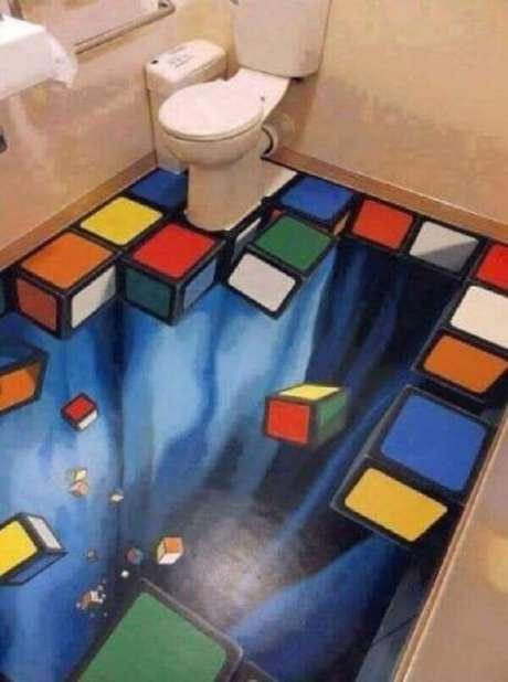 18 – O piso 3D transmite diversão aos moradores e visitantes que se utilizam do banheiro. Fonte: Arqdicas