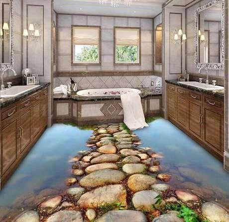 21 – Personalize seu cômodo utilizando piso 3D. Fonte: Pinterest