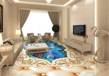 22 – Personalize sua sala de estar utilizando piso 3D. Fonte: Pinterest