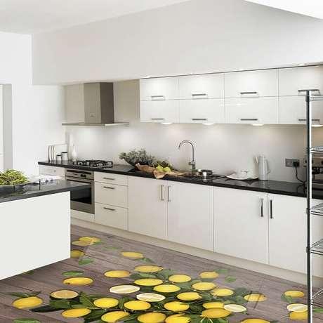 24 – Piso 3D aplicado no ambiente da cozinha. Fonte: Pinterest