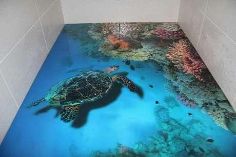 52 – Piso 3D com desenho do fundo do mar. Fonte: Pinterest