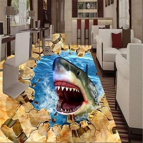 47 – Piso 3D com imagem de tubarão. Fonte: Pinterest